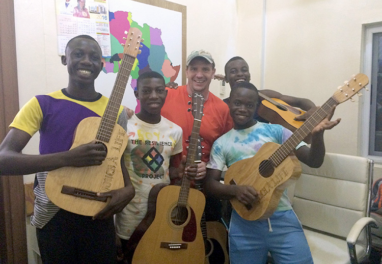 Chad with a group of guitar students.